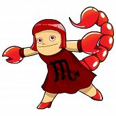 foto of scorpio  - Cartoon style illustration of zodiac symbol - JPG