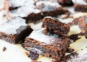 picture of brownie  - Selective focus on front brownie cookie on the top - JPG