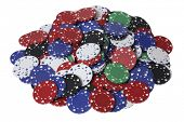 Pile of assorted gambling chips on white background