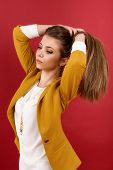 portrait of the beautiful young woman with beauty long straight hairs