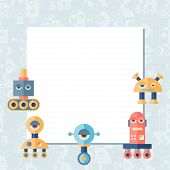 pic of robot  - Background with robot in flat style - JPG