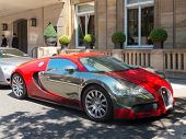 London, UK - CIRCA JULY 2012: A Bugatti Veyron is parked in front of the Berkeley hotel