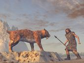 picture of saber  - A caveman meeting a saber tooth tiger - JPG