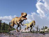 Tyrannosaurus rex chasing a velociraptor