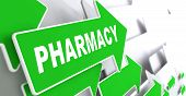 Pharmacy Branding on Green Direction Arrow Sign.