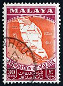 Postage Stamp Malaya 1957 Map Of Federation Of Malaya