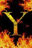 Y Fire Letter Cracked On Black Background