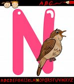 stock photo of nightingale  - Cartoon Illustration of Capital Letter N from Alphabet with Nightingale Bird Animal for Children Education - JPG