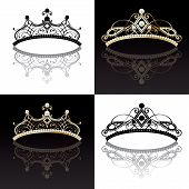 Set of four 4 diadems