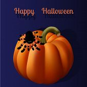 Halloween greeting card with spider silhouette and gradient mesh pumpkin
