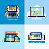 Modern Flat Vector Concepts Of Responsive Web Design. Icons Set For Websites, Mobile Apps