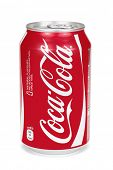 ESTONIA - AUGUST 16, 2014. Coca-Cola can isolated on the white background,clipping path included. C