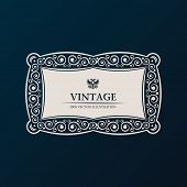 Label vector frame. Vintage banner decor ornament