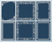 Vector elegant set. Ornate frames and vintage scroll elements black