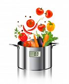 Vegetables falling into a pot. Healthy and diet food concept. Vector.