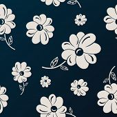 White and black flowers seamless background wallpaper