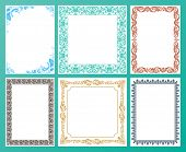 Vector color set. Ornate frames and vintage scroll elements illustration