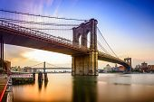 picture of brooklyn bridge  - Brooklyn Bridge in New York City at dawn - JPG