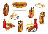 Hotdog cartoon characters and symbols