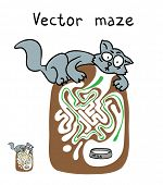Vector Maze, Labyrinth education Game for Children with Cat.