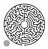 Black vector maze, round labyrinth illustration