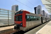 pic of gare  - Train in modern train station in Lisbon Portugal - JPG