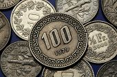 Coins of South Korea. South Korean one hundred won coin.