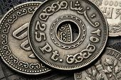 Coins of Egypt. Egyptian twenty five piaster (qirsh) coin.