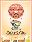 Cute Groom And Bride On Balloon Wedding Invitation Card