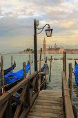 Gondolas in Venice, in background San Giorgio Maggiore church