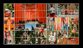 Collection of Fushimi Inari Taisha Shrine scenics in TV wall, fox statue, thousands of torii, paper cranes of thousand etc.