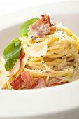 foto of carbonara  - Traditional Carbonara Spaghetti with Meat and Cheese - JPG