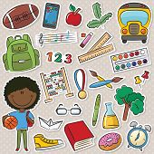 African-american School Boy And Education Objects