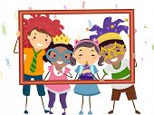 Illustration Featuring a Group of Kids Wearing Party Costumes Holding a Hollow Frame