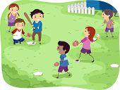Illustration Featuring Kids Playing Baseball
