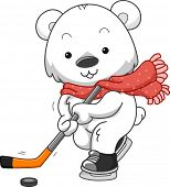 Polar Bear Ice Hockey/Illustration Featuring a Polar Bear Playing Ice Hockey