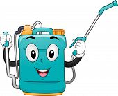 Mascot Illustration of a Knap Sack Sprayer