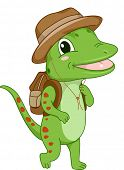 Illustration of a Gecko Wearing a Safari Hat and Bag