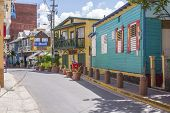 Colorful Buildings On Street In Boqueron, Puerto Rico