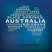 Australia map made with name of cities - vector illustration