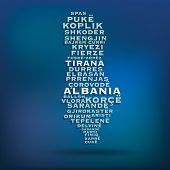 picture of albania  - Albania map made with name of cities  - JPG