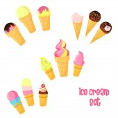 Vector cartoon ice cream set