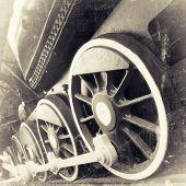 Steam Locomotive Wheels Close Up In Retro Black And White Design