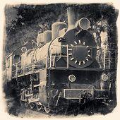 Old Locomotive In Retro Black And White Design