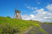 stock photo of dike  - Windmill on a dike under a blue sky  - JPG