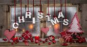 Christmas Greeting Card In Red, Wood, Candles And With Text.