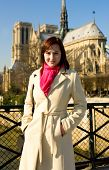 Beautiful Woman In Paris Near Notre-dame De Paris