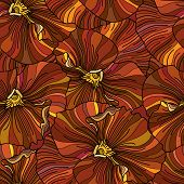 Orange Pansy Flowers Seamless Background