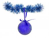 blue christmas ball on tinsel isolated on white background