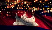 Cambodia National Flag Light Night Bokeh Abstract Background